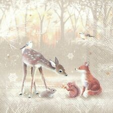 4 x Single Paper Napkins/3 Ply/Decoupage/Christmas/Forest Animals/Deer/Fox