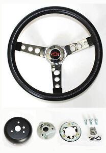 "Chevy Pick Up Blazer GRANT Black Steering Wheel 13 1/2"" Red/Black Bowtie Cap"
