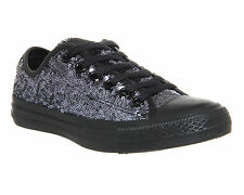 Womens Girls CONVERSE All Star BLACK MONO SEQUINS OX Lo Trainers Shoes SIZE UK 3