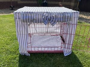 MADE TO MEASURE DOG CRATE COVER / STRIPE FABRIC / VARIOUS COLOURS