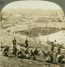 Barracks at Camp Devens. Boys on hillside writing letters Ayer - WW1 Stereoview