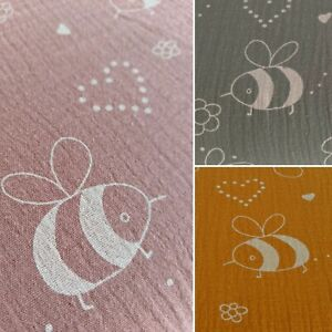 Bumblebee Cotton Muslin Double Gauze Fabric Mustard Green Pink Baby Nursery Bee