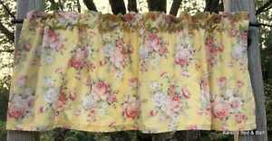 Shabby Floral Rose Pink & Yellow Peony Flowers Handcrafted Curtain Valance NEW