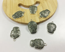 15PCS 20*30MM Vintage Silver Skull Cameo Alloy Jewelryfinding DIY Charm Pendant