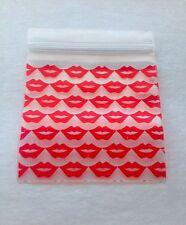 100 Red Lips, Kisses 2x2 (Small Designer Plastic Baggies) 2020 Tiny Ziplock Bags