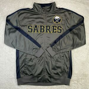 Buffalo Sabres Track Jacket Mens XLT XL Tall Zip Up NHL Logo Patch Stitched Gray