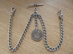 Double Albert Old Look Silver Colour Pocket Watch Chain with 1951 Old Shilling