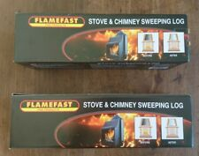 2 x STUFA CAMINO PULIZIA SPAZZARE log flamefast aiuta a rimuovere Creosoto