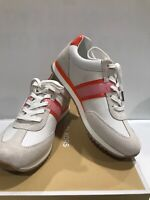 NEW MICHAEL KORS PRUDENCE TRAINER SMALL WEAVE CANVAS SNEAKERS CREAM MULTI Sz 8