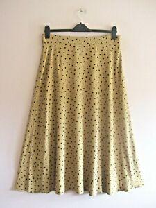 M&S Size 14 Long Camel + Black Polka Dot Print Bias Flare MIDI Skirt NEW