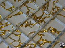 Glasmosaik Mosaik Fliesen Crystal Klarglas EFFEKTMOSAIK - weiss gold TOP !!!