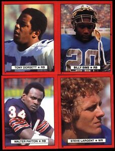 1981 Red Border Topps NFL Football Stickers Payton Sims
