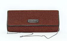 CARLOS FALCHI BROWN WOVEN STRAW LEATHER CLUTCH BAG HANDBAG PURSE NEW $350.00