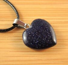 Blue Goldstone Gemstone Heart Pendant on a Black Waxed Cord Necklace #1197