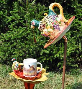 """TeaPot Glass Plate Flower Garden Yard Art Sculpture """"Woodland Beauty"""" Pheasant"""