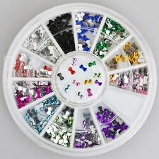300pc Rhinestone 3D Nail Art Fashion Diamante Glitter Gem Multi Colour Bow Ties