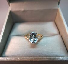 10K Yellow Gold Ring Size 5 Oval Cut Light Blue Topaz Stone 2.5ct Designer 2.08g