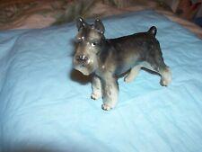 "Vintage Schnauzer Dog Porcelain Ceramic Figurine - 4"" H x 3.5"" L - E3583"