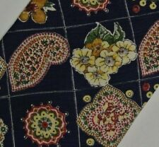 """Blue Yellow Floral Paisley Silk Tie 3.8"""" Wide 58"""" Long"""