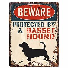 PP2478 PROTECTED BY A BASSET HOUND Plate Chic Sign Home Decor