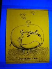 Vintage 1968 Psychedelic Blacklight Poster EVERYONE LOVES A HIPPY HIPPO