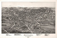 Butler, Butler County, Pennsylvania. Antique Birdseye Map; 1896
