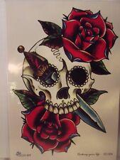 Temporary Body Art Arm Rose Skull Dagger Back Tattoo Leg Man Women Waterproof