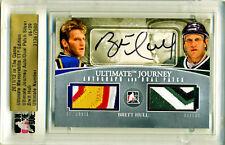 2011/12 In The Game Brett Hull Ultimate Memorabilia Journey Auto Dual Patch 6/9