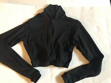 CHEER TOP BLACK LONGSLEEVE FITTED UNDER UNIFORM SHIRT NYLON ADULT SMALL AS EUC