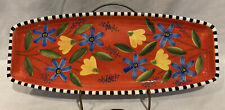 """Department 56 Spring Orange Blue Yellow Floral Flower Bread Dish Tray Plate 16"""""""