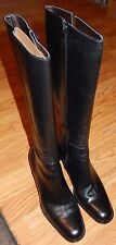 Etienne Aigner Black Leather Ruler Zip Up Boots Size  6 1/2 Medium