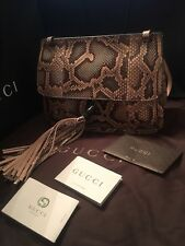 060a1085080 New GUCCI Ombre Multicolor Python Snakeskin Bamboo Tassel Flap Shoulder Bag