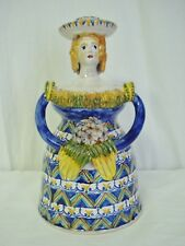 "C Carriero Grottaglie Italy 9"" Woman Ceramic Figural Candle Holder Art Pottery"