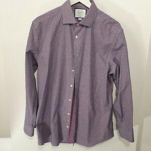 Charles TyrWhitt Pink Blue Plaid Long Sleeve  Slim Fit Shirt Sz 42