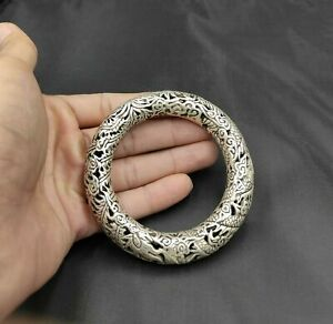 Rare Tibet silver carved DRAGON men's bracelet bangle
