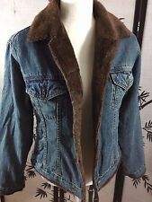 Star Blue Apparel Girl's Jean Jacket With Brown Fleece Lining Warm Size M
