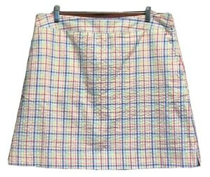 Clover By Bobby Jones Womens A Line Mini Skirt Blue Plaid Pocket Side Zip 12 New