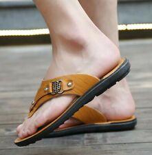Men's New Summer Sandals Flats Flip Flops Slip On Casual Beach Slipper Leather