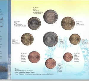 FINLAND 8 DIF UNC COINS MINT SET 0.01 - 2 EURO 2004 YEAR + MEDAL