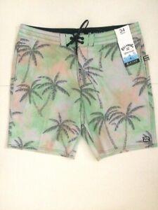 BILLABONG Recycler Men's NWT 34 SEA GREEN/PINK/GRAY Hawaiian Board Shorts $59.95