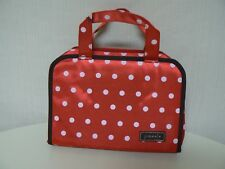 Jimeale LILLE TOILETRY BAG Red with White Polka Dots NEW Snap Out Compartments