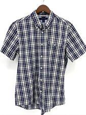 Men's Tommy Hilfiger Medium Short Sleeve Button Down Plaid (F6-126)
