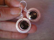 Smokey Quartz hook dangle earrings, 12 carats, in 7.11 grams 925 Sterling Silver