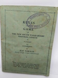 Rules of the Games , NSW rugby football league by Ray Norman 1946