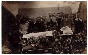Antique post mortem woman in casket Vintage funeral Real Photo 1920s