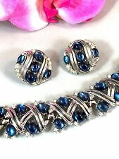 CROWN TRIFARI JEWELS OF FANTASY SAPPHIRE BLUE CABOCHON BRACELET CLIP EARRING SET