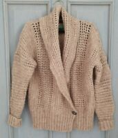 United Colours of Benetton tan camel knit cardigan size S