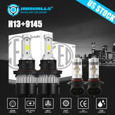 4x COB Combo H13 LED Headlight High low +9145 Fog Light for Ford F-150 2004-2014