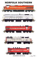 "Norfolk Southern Locomotives 11""x17"" Poster by Andy Fletcher signed"