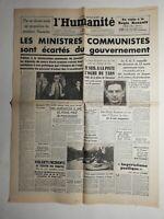 N380 La Une Du Journal L'humanité 6 mai 1947 ministres communistes gouvernement